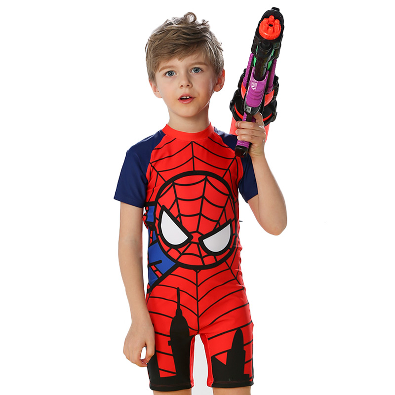 8c9ca15fe8 洲克Children's Swimsuit Boy Spider-Man Siamese Sunscreen Big Boy Split Swimsuit  Baby Swim