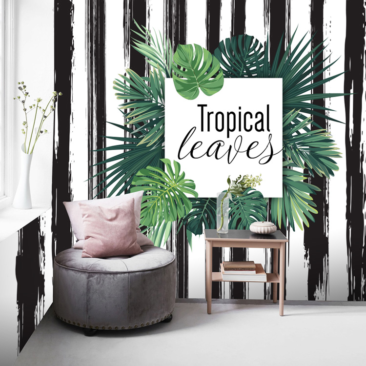 Nordic minimalist black and white wallpaper milk tea shop coffee restaurant background wall paper leaves tropical plant mural