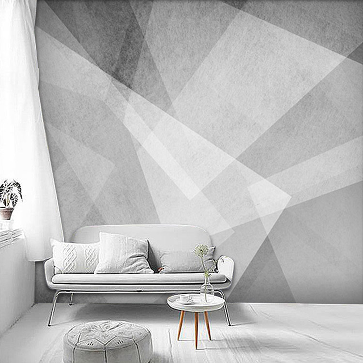 Nordic minimalist three-dimensional gray geometric wallpaper art seamless non-woven living room bedroom cement background wall paper