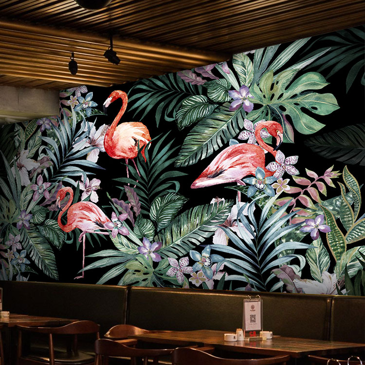 Southeast Asia tropical rain forest banana leaf flamingo wallpaper 3d hand-painted oil painting living room bedroom TV background wallpaper
