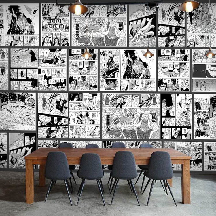 Japanese anime One Piece comic wallpaper theme restaurant Internet Bar Bar industrial wind Wallpaper Black and white hand-painted murals
