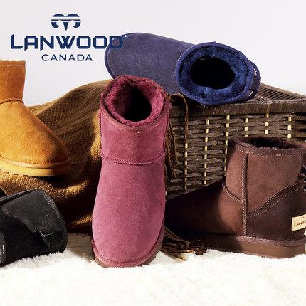 秒殺UGG!加拿大Lanwood 澳洲羊皮毛一體 女款雪地靴