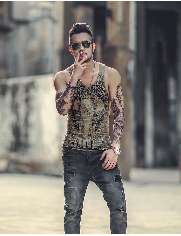 Grey Men Tank Top Casual Fitness Singlets Brand Mens Sleeveless Gasp Hip Hop Vest Elephant Print Cotton undershirt T680 8
