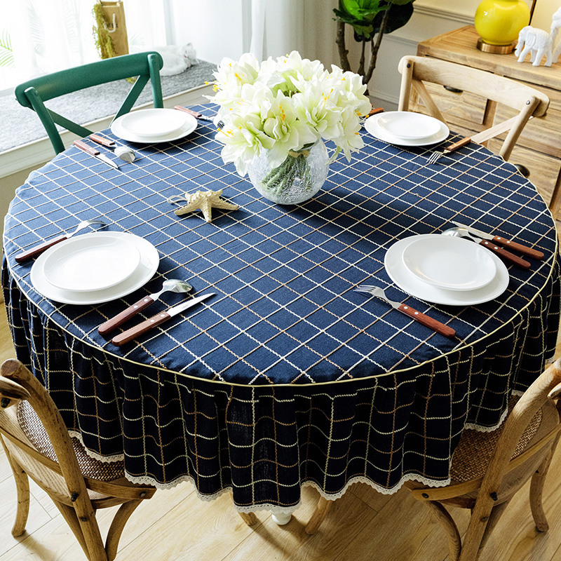 Large Round Table Cloth.American Pastoral Table Cloth Large Round Table Tablecloth Round Household Lattice Garden Tablecloths Simple And Modern Can Be Customized