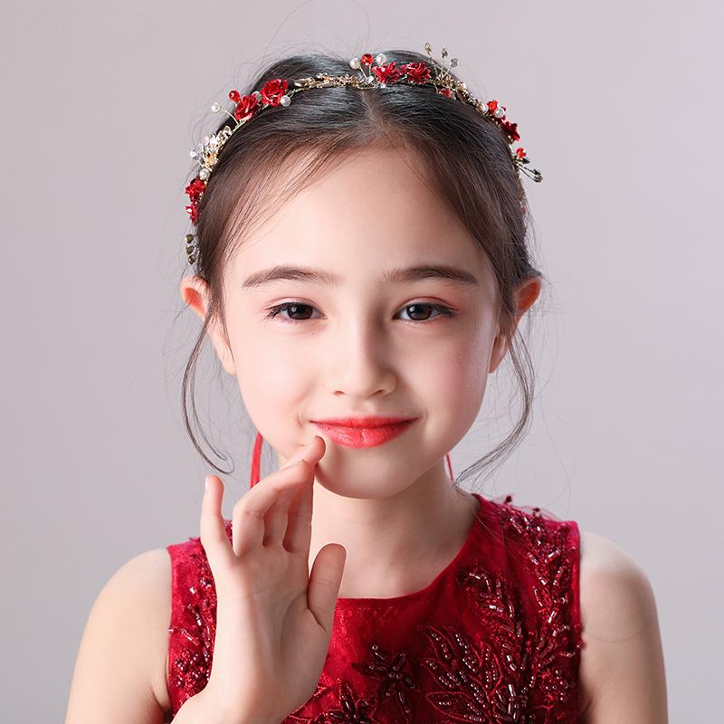饰品发夹女童公主儿童蕾丝花朵韩国头饰女孩发卡红色头花v饰品发饰