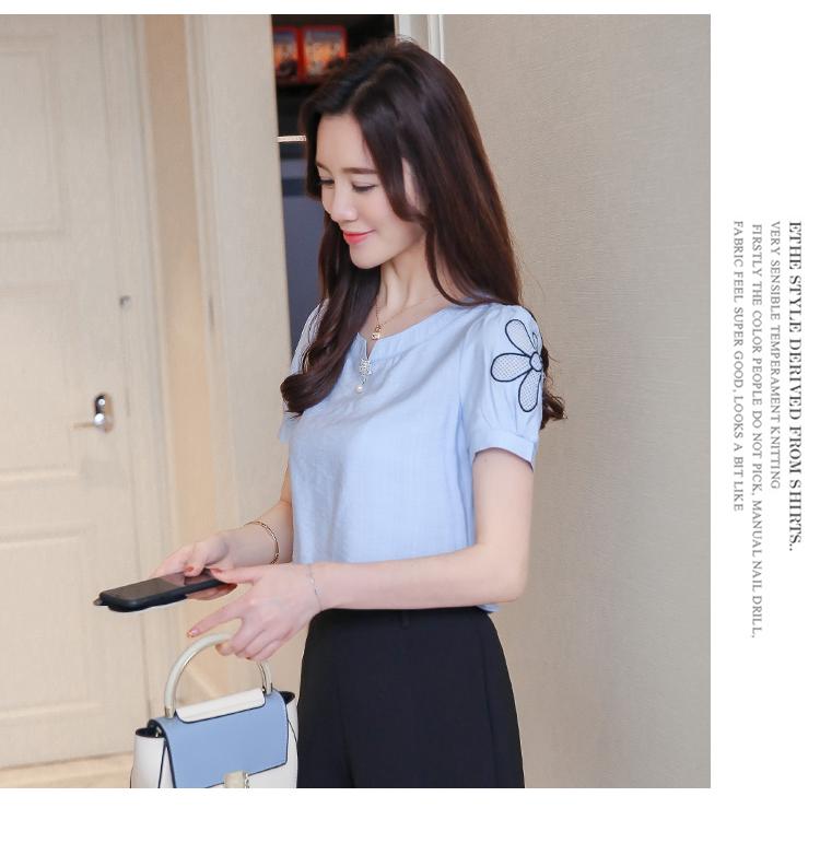 棉麻t恤女夏季2019新款寬鬆韓版洋氣百搭氣質顯瘦v領短袖雪紡上衣「」KJN15
