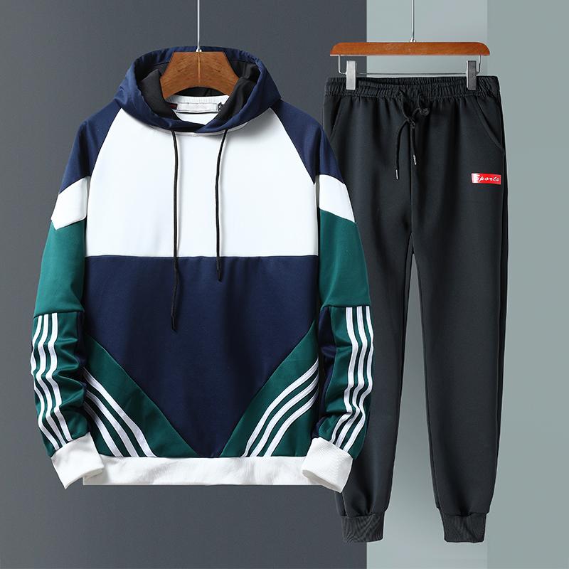 2019新款秋季男时尚套装长袖休闲套装韩版潮流帅气两件套卫衣套装
