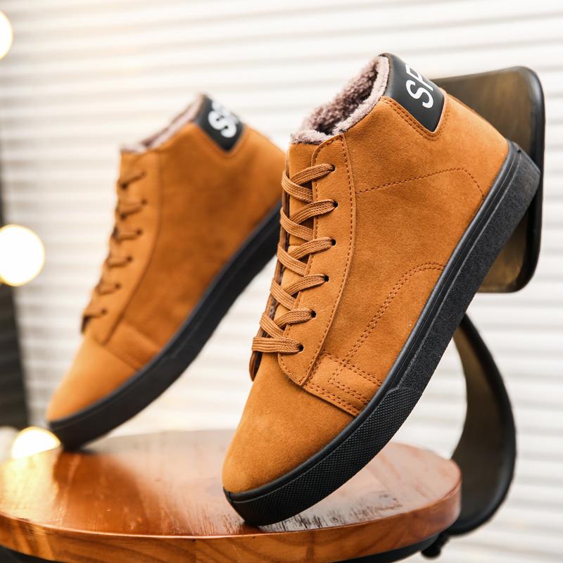 2018新款冬季男士休闲圆头皮鞋系带青年工装鞋子男潮鞋英伦低帮鞋