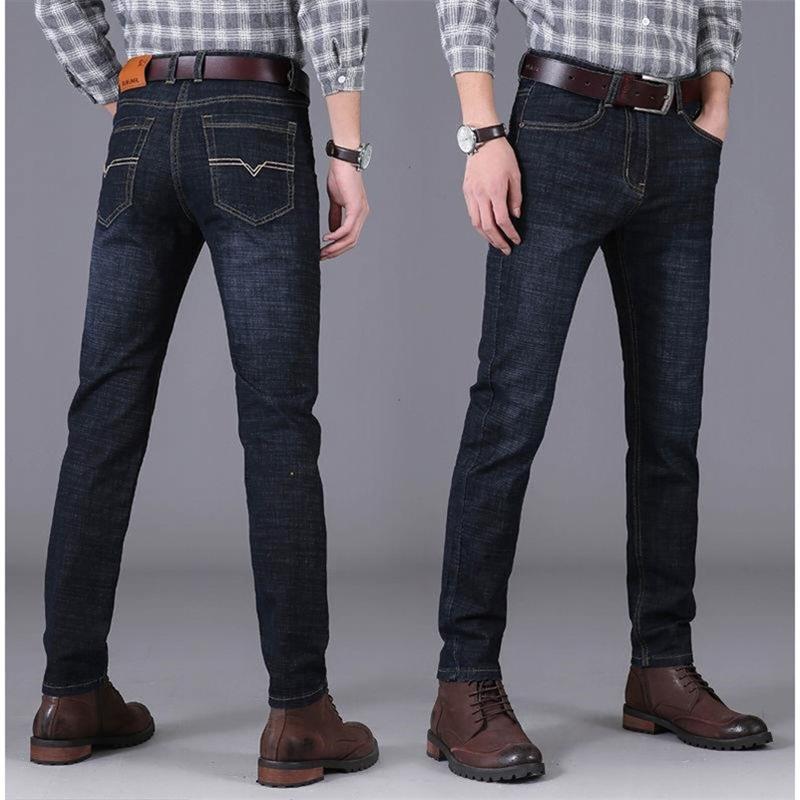 冬季男士裤子韩版直筒加绒加厚牛仔裤2020新款青年商务休闲运动裤