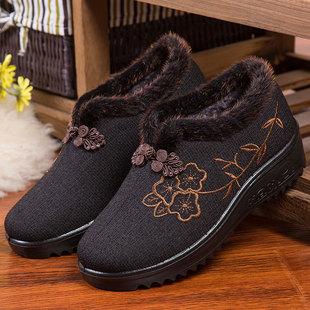赛格2020新款老北京布鞋女冬季棉鞋加绒棉加厚防滑妈妈休闲情侣靴
