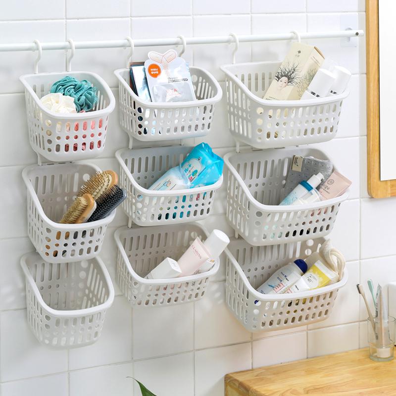家居创意床头收纳挂篮置物篮厨房浴室洗漱挂篮卫生间塑料篮吊篮