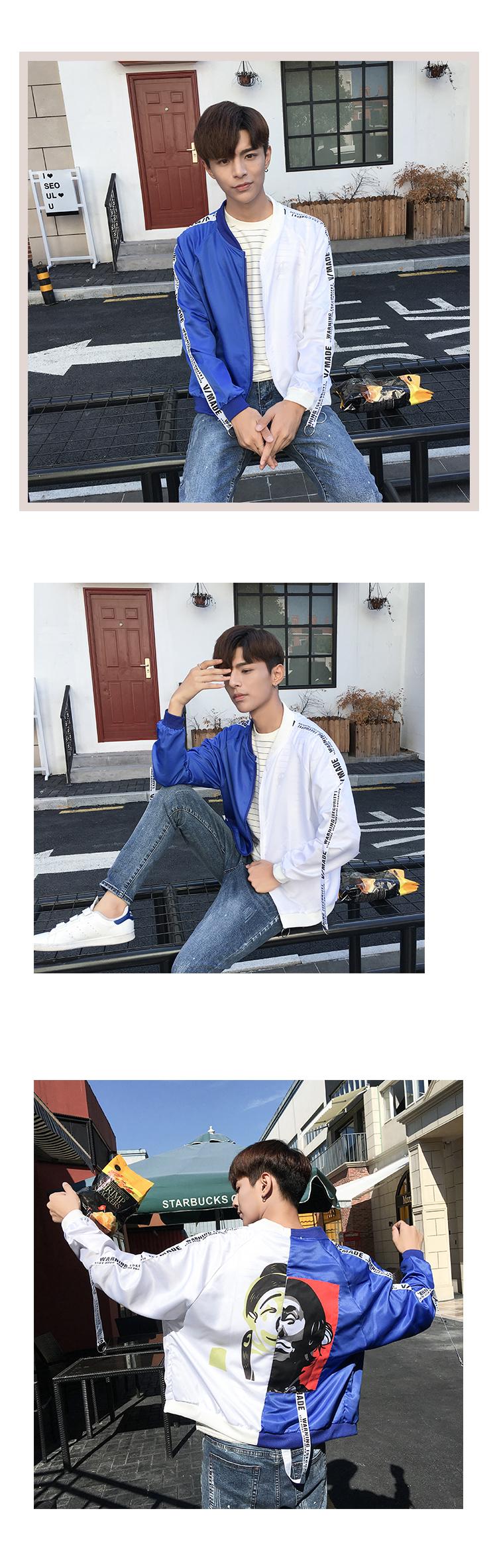 Áo khoác nam 2018 mới mùa xuân và mùa thu nam áo khoác nam Hàn Quốc phiên bản của tự canh tác cá tính đẹp trai xu hướng mùa hè kem chống nắng quần áo