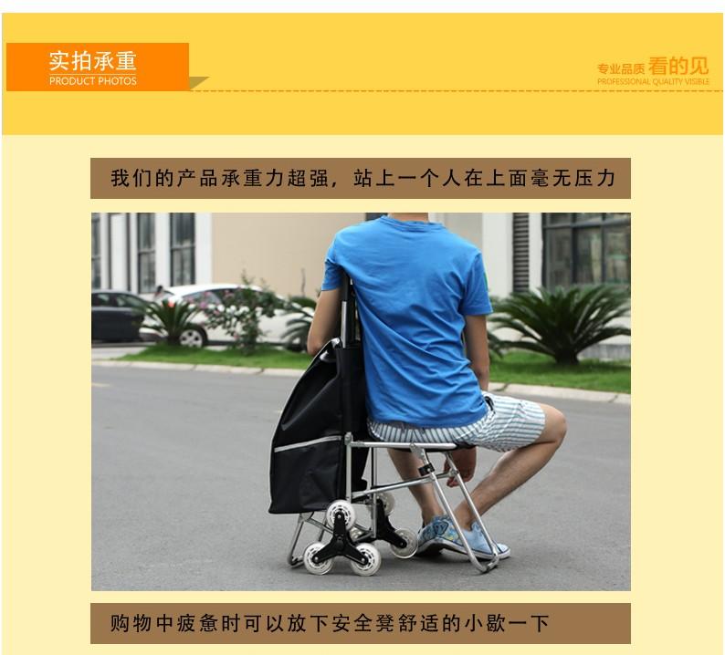 櫻花SHOP 嘉曼 買菜車可折疊便攜手拉車小推車老年鋁合金 帶椅子爬樓購物車YH863