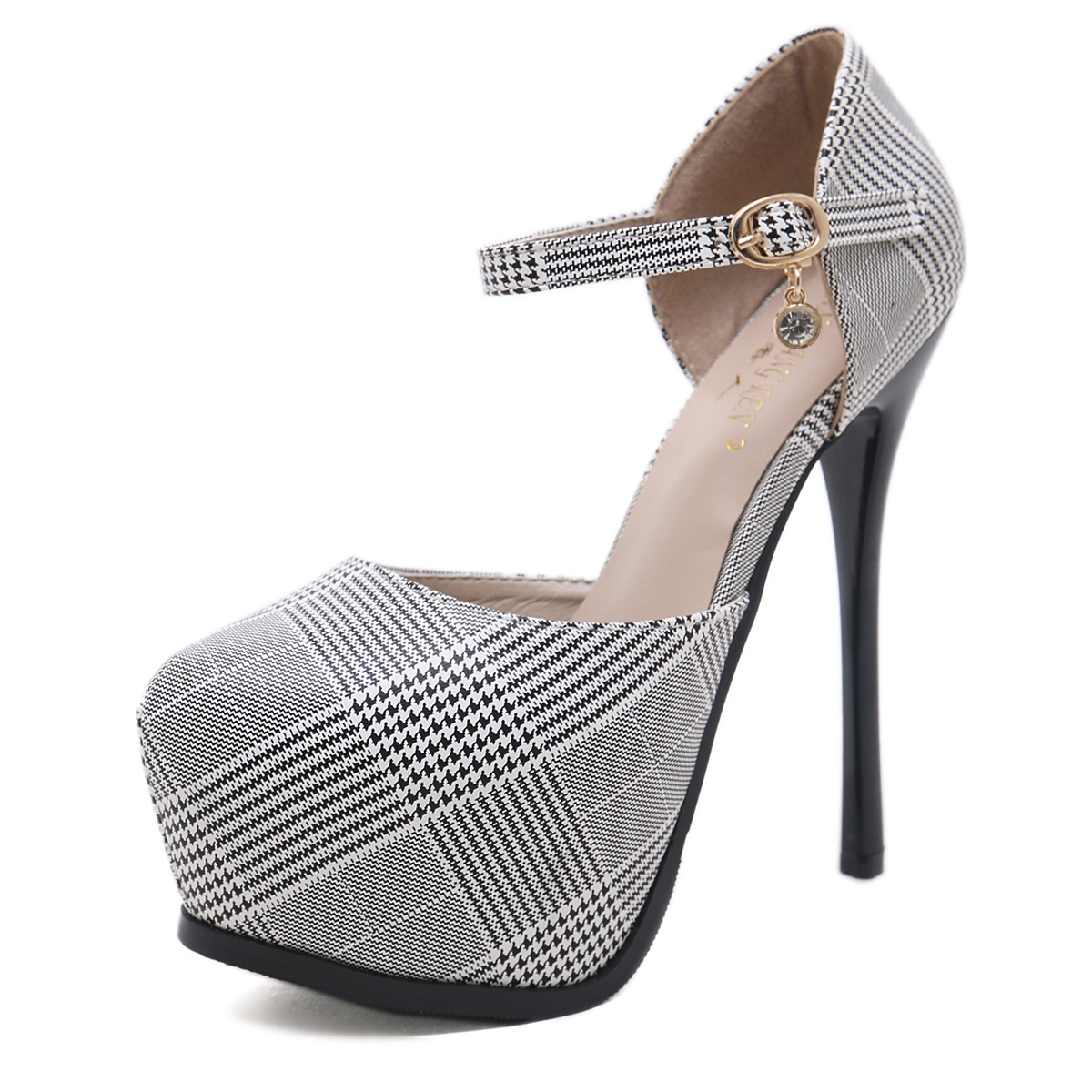 night club new 14 cm high heel shoes with platform grey color's main photo