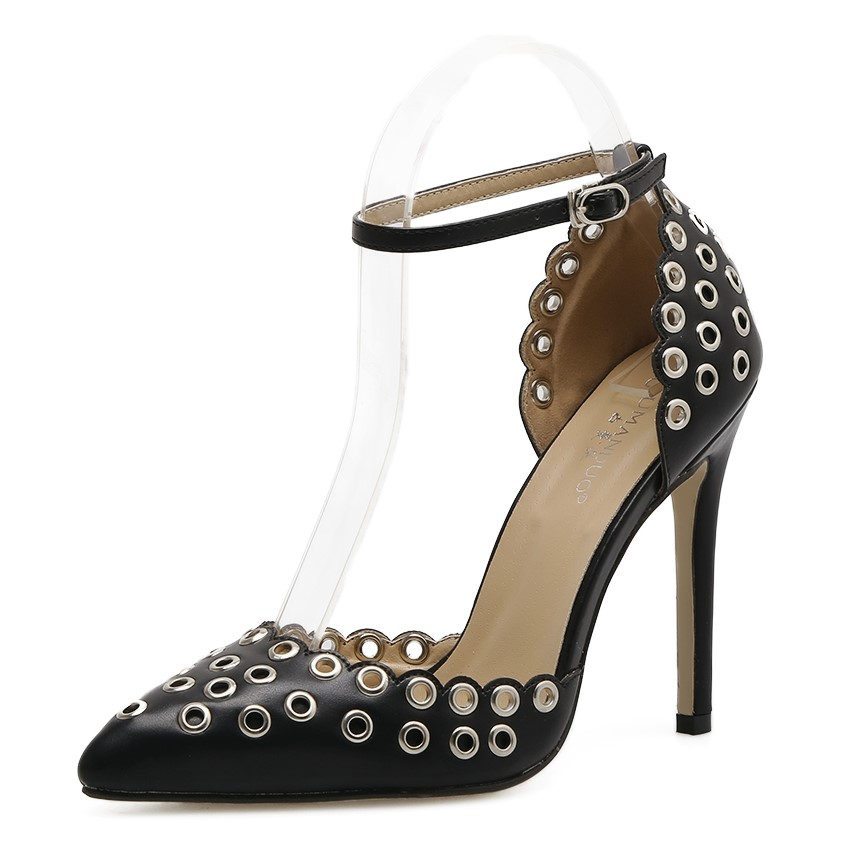 Elegant hollow rivet pointed high-heeled shoes's main photo