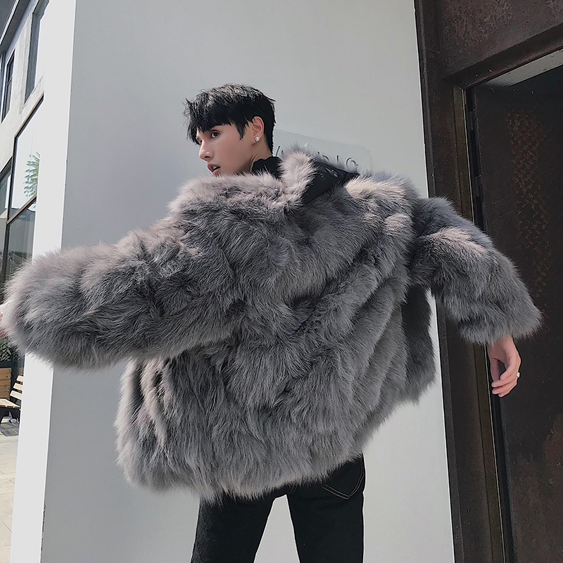 Fox fur leather fur coat men's fur all-in-one fur coat 2019 winter new pie to overcome the tide card