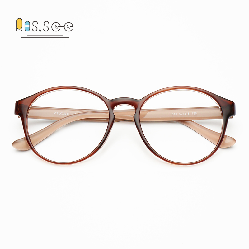 USD 29.30] South Korea ultra-light TR90 large round glasses glasses ...