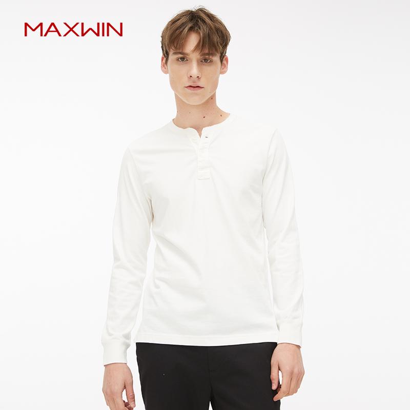 优衣库制造商 MAXWIN 马威 男士亨利领长袖T恤 多色