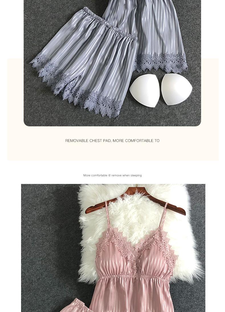 睡衣女夏冰丝薄款性感吊带胸垫两件套装家居服极度诱惑2020新款潮