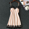 Pajamas women's summer sexy ice silk sling hot adult sexy thin section with chest pad summer small chest sing short skirt