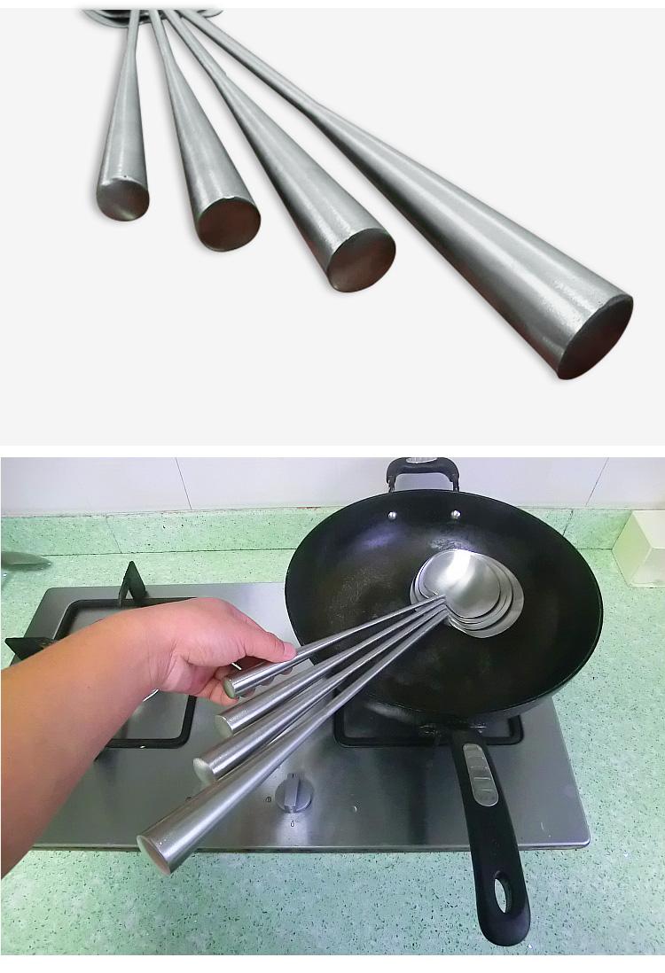 不锈钢炒勺炒菜勺子厨师餐厅贵州家用无磁长柄手工锅铲大汤勺厨具详细照片