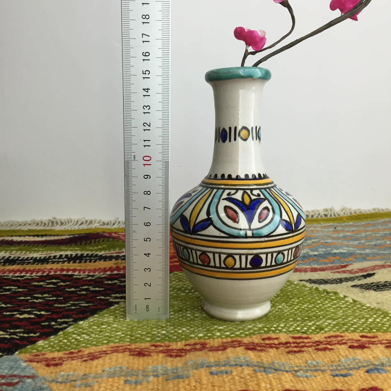 摩洛哥陶瓷手绘花瓶摆件客厅插花干花现代简约餐桌电视柜装饰品