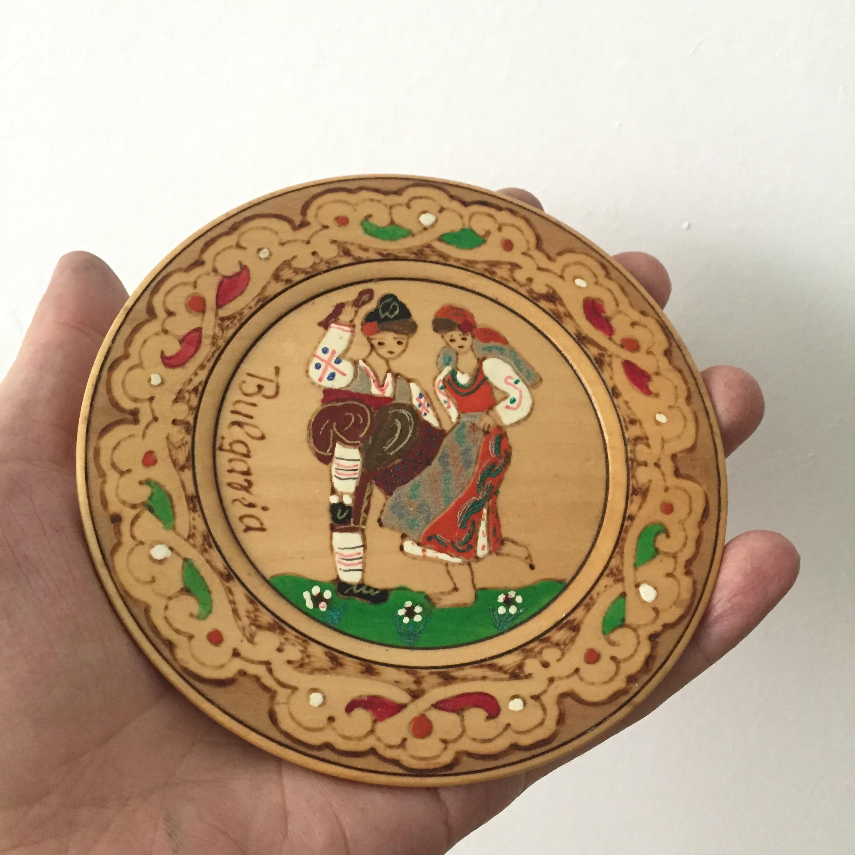 保加利亚游记/手工彩绘木挂盘家居装饰盘乡村复古风摆件大号小号