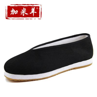 加米羊老北京布鞋男款中国风圆口千层底男牛筋黑布鞋厚底大码布鞋