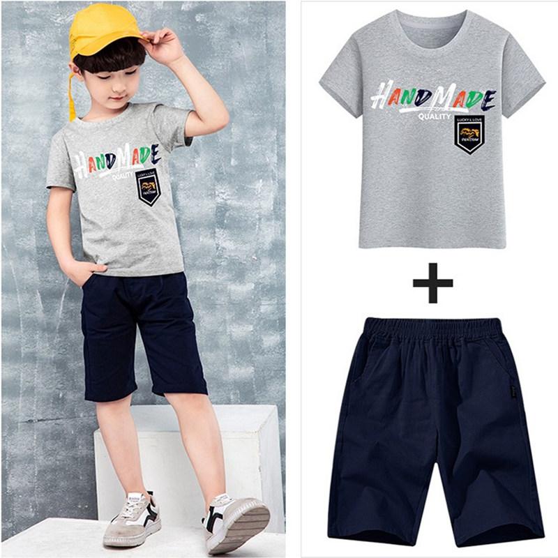 套装短袖夏季宝宝2019新款童装夏装中大童儿童件套v套装两男童男孩