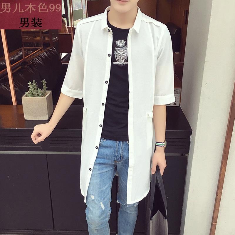 夏季新款韩版修身中长款休闲衬衫男薄款棉麻纯色风衣男超薄外套潮(优惠20元包邮)
