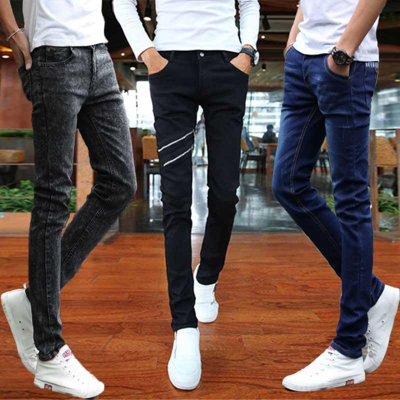 夏季男士黑色牛仔裤男生修身显瘦小脚裤紧身弹力潮男裤直筒长裤子