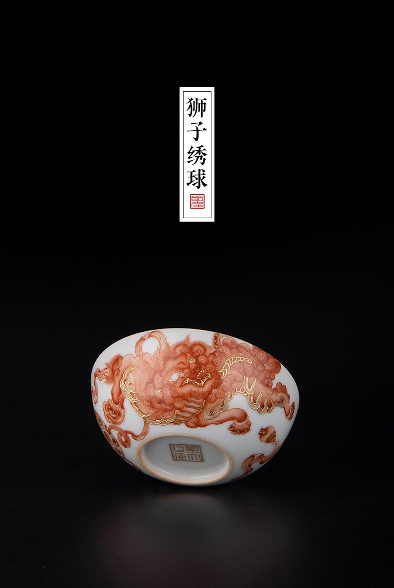 Holy big ceramic alum tea red lion ball grain heap gold cross wall, master all hand hand - made jingdezhen single lamp