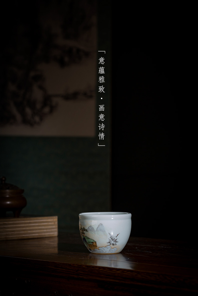 St the ceramic kung fu tea master cup manual hand - made pastel put khe sanh crane cylinder cup of jingdezhen tea service by hand