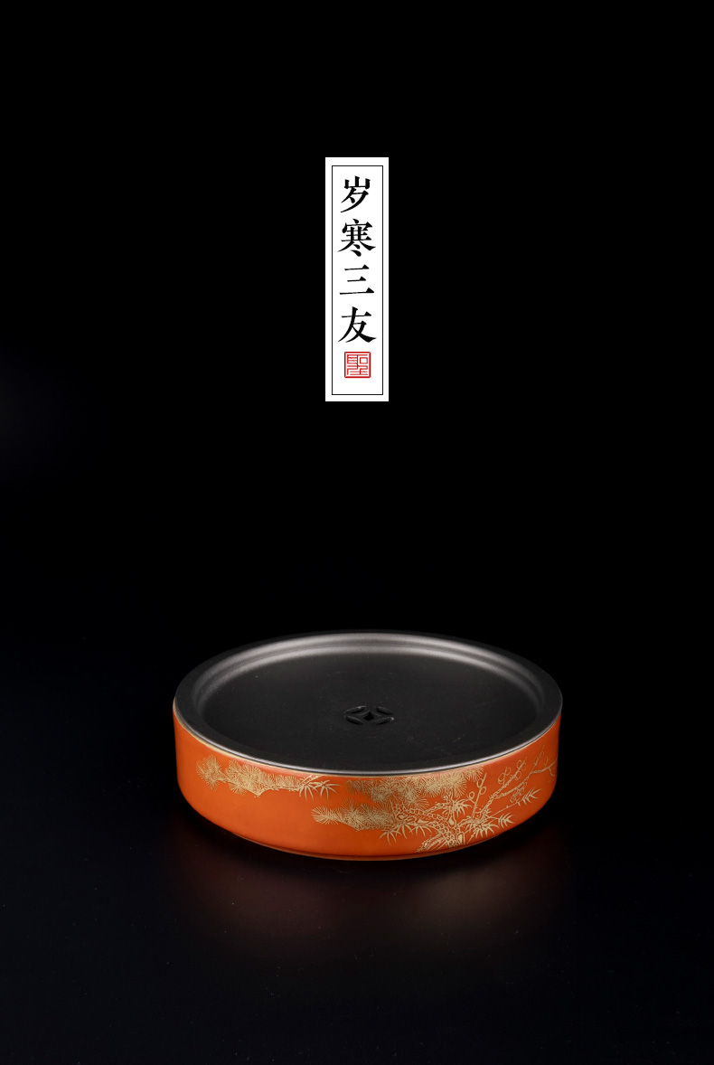 Holy big ceramic coral red paint at the age of poetic pot bearing dry tea plate of kung fu tea accessories ceramic pot pad