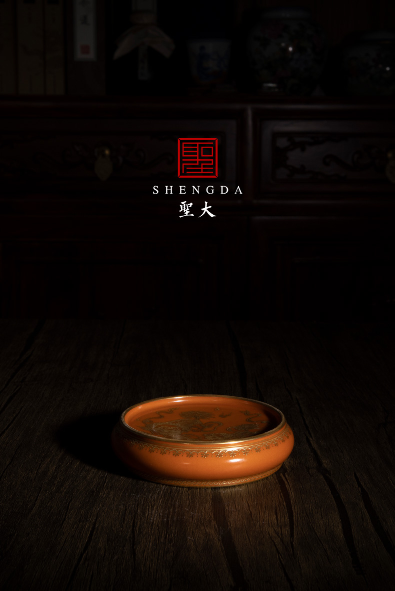 Holy big ceramic coral red lion ball grain heap gold to cover the set the teapot lid manually jingdezhen tea accessories