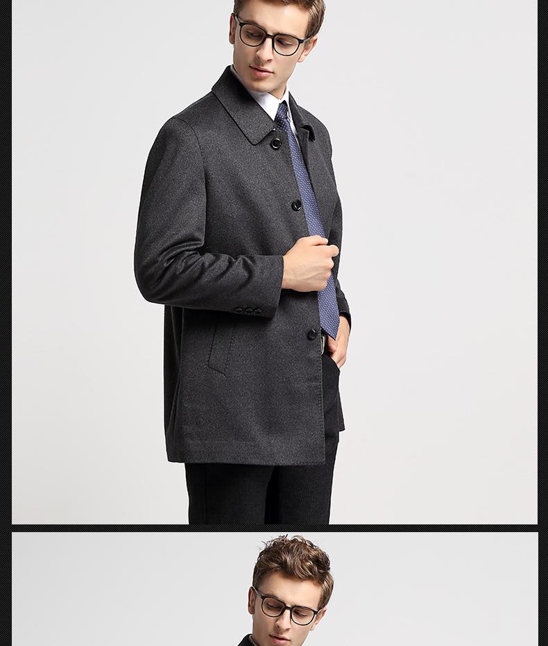Hengyuan Xiangchunqiu đôi phải đối mặt với cashmere áo khoác nam trung niên áo gió dài len áo len người đàn ông kinh doanh của quần áo