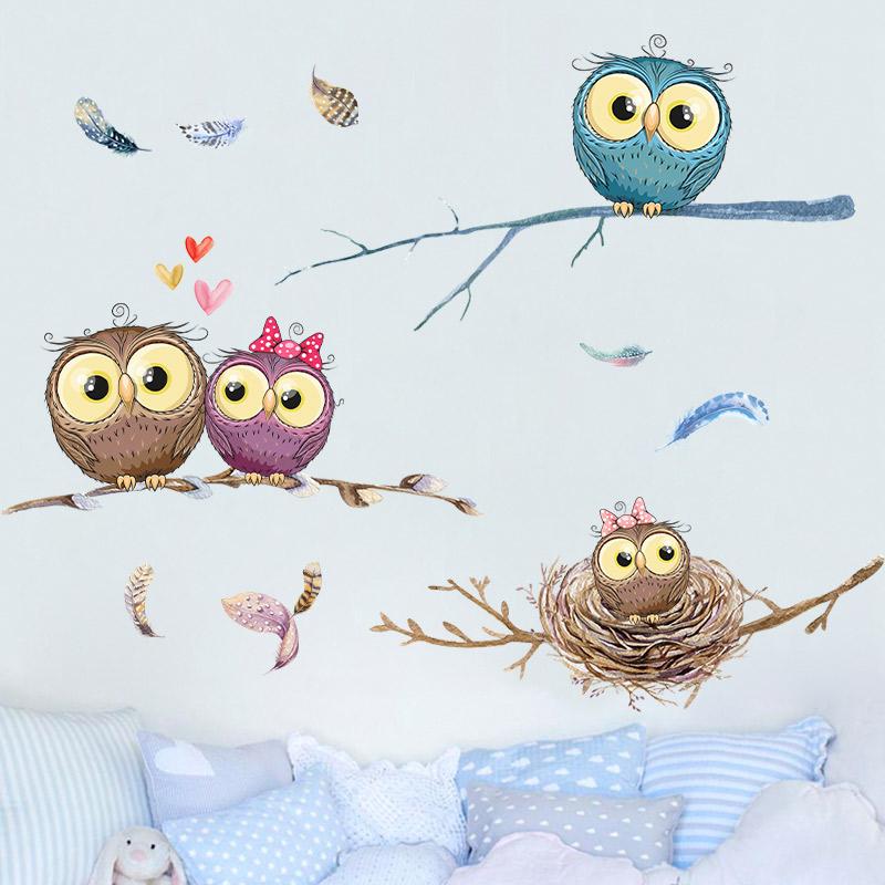 卡通猫头鹰墙贴儿童房间装饰品卧室玄关墙贴画壁纸墙纸自粘可移除