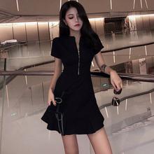 夏季新款气质慵懒风收腰赫本小黑裙