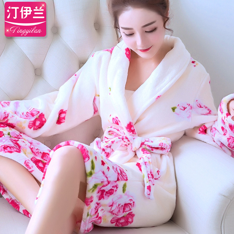 Rose flower kimono nightgown female autumn long sleeve thick flannel home service pajamas bathrobe bathrobe autumn and winter couple