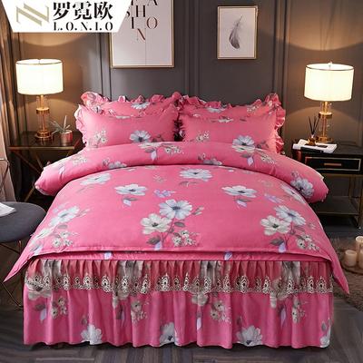 床裙款加厚全棉磨毛四件套纯棉被套 蕾丝床裙1.5m1.8x2米床上用品