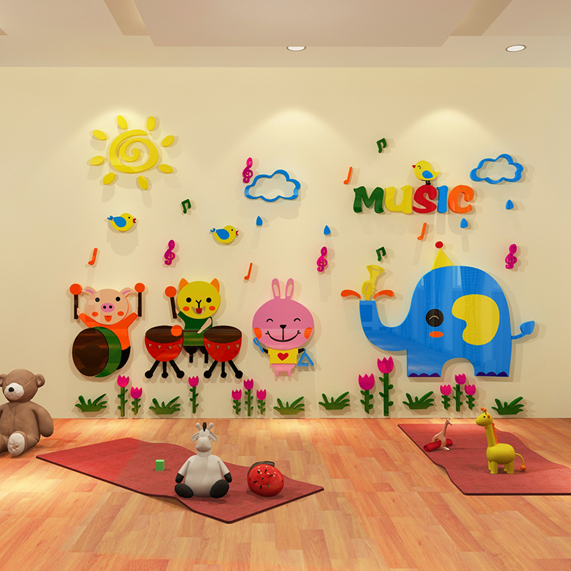 Happy Animal Creative Cartoon Stickers Wall Stickers 3d Three