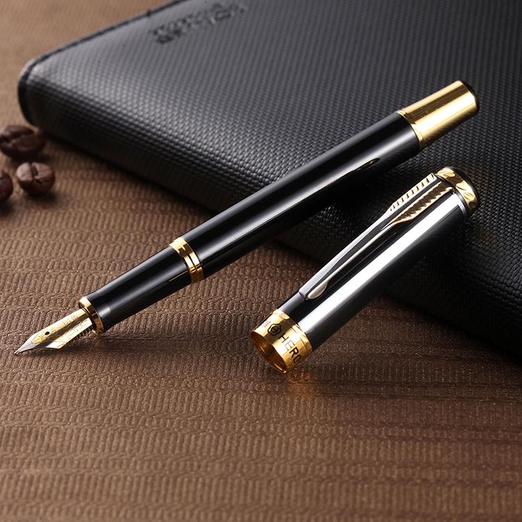 包邮HERO英雄钢笔黑漆金夹铱金钢笔学生书法练字办公墨水750钢笔