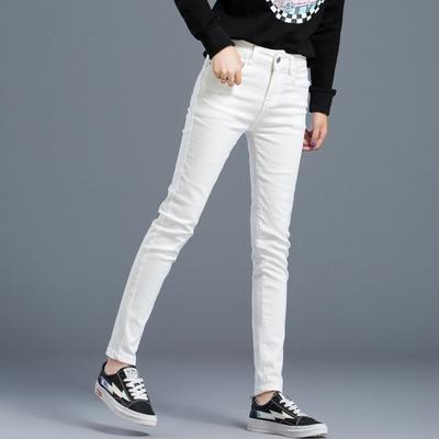白色裤子女春秋新款流行女裤显瘦百搭修身弹力外穿小脚裤休闲