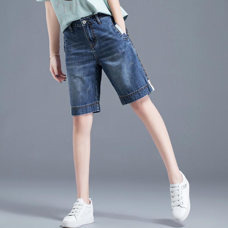 女士短裤牛仔女2019新款高腰5分牛仔裤五分裤女宽松v女士直筒中裤