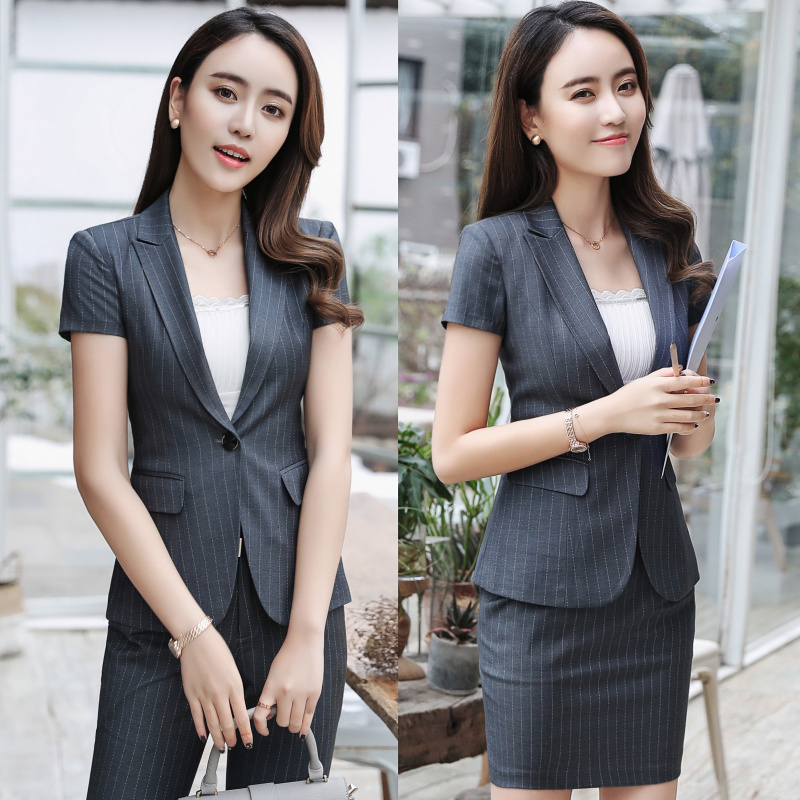 a88aab5e64 2019 summer professional dress suit fashion striped short-sleeved ...