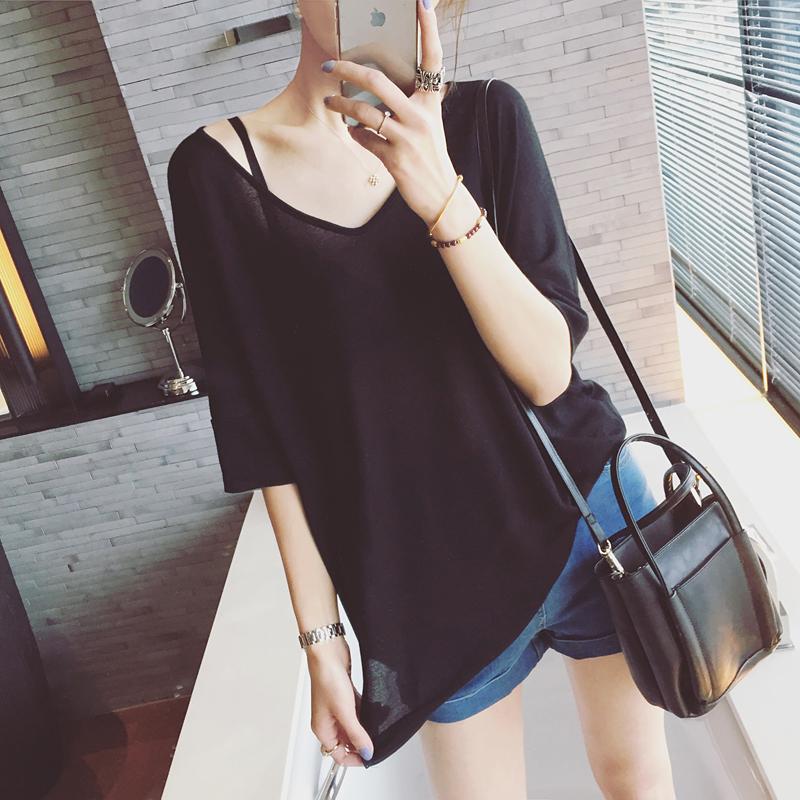夏季V领大码短袖宽松女款防晒套头中长款空调罩衫款针织衫超薄衫
