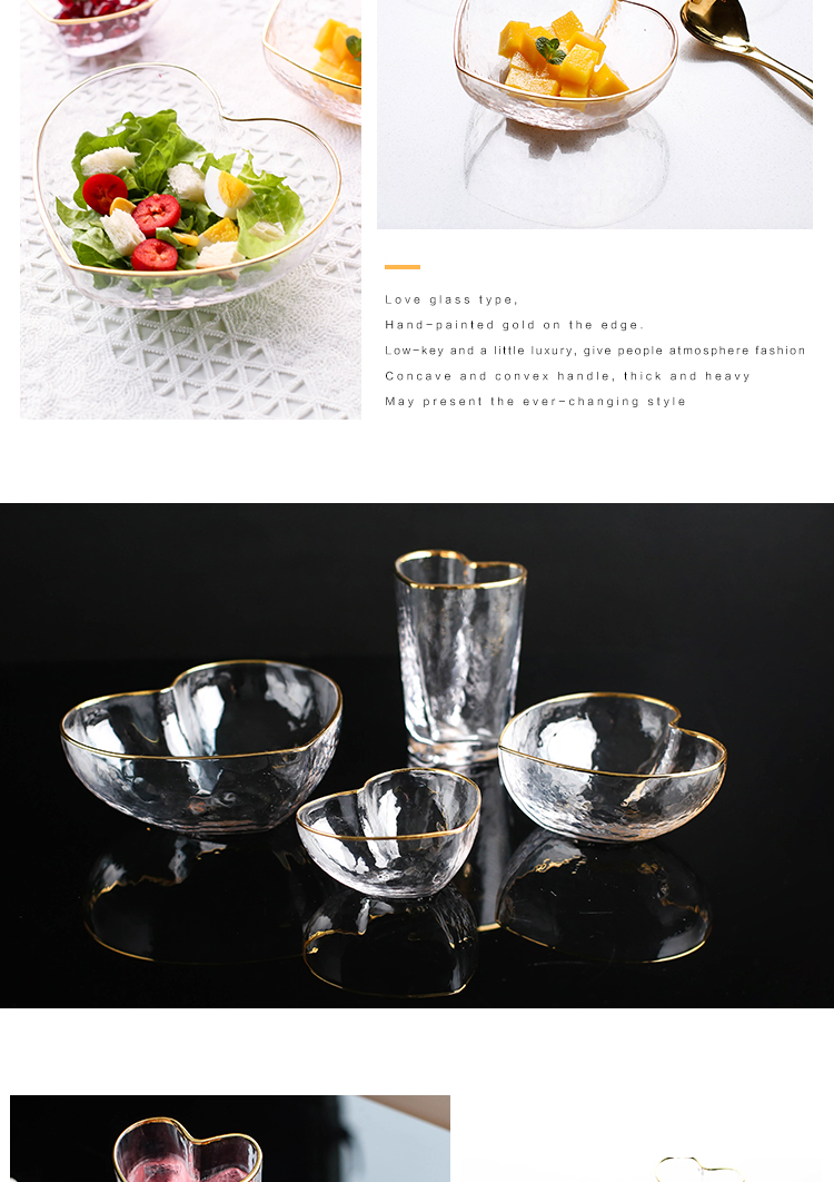 Sichuan in Japanese up phnom penh crystal glass salad bowl household lovely fruit bowl dessert to use creative heart - shaped tableware