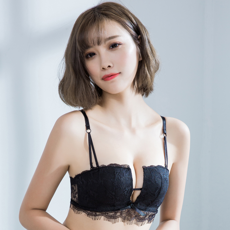 85d5a19127110 2 pieces of sexy lingerie female wireless top four cup deep V gather lace  bra bra close Furu
