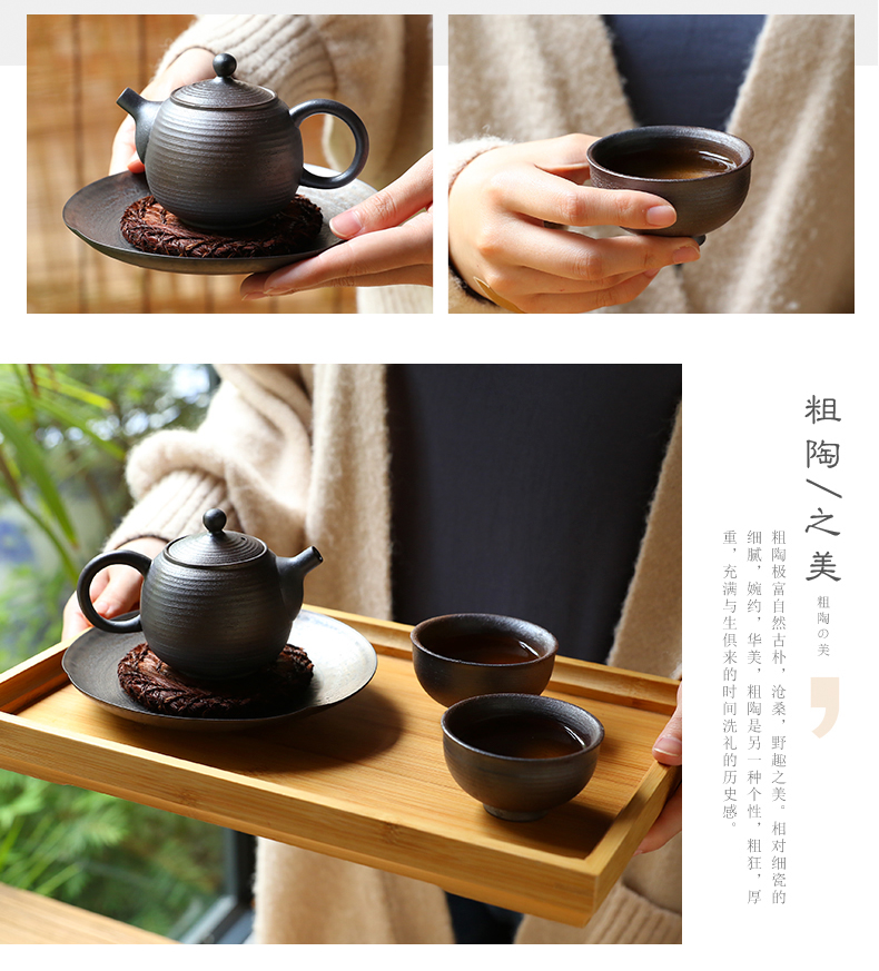 Three frequently hall coarse jingdezhen ceramic tea set of a complete set of black pottery pot 2 cups of large tea pot pot bearing ST1008