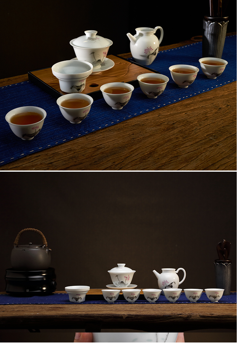 Three frequently hand - made kung fu tea set # 10 head set of jingdezhen tea cups of a complete set of tureen ST1030